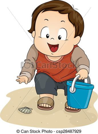 Clip Art Vector of Stickman Family Shell Picking Beach.