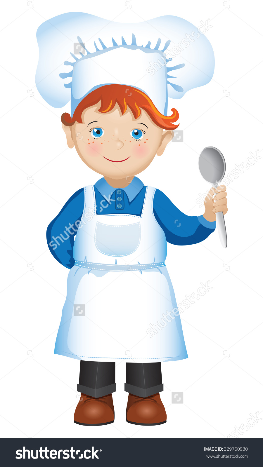 Vector Illustration Redhaired Boy Dressed Chefs Stock Vector.