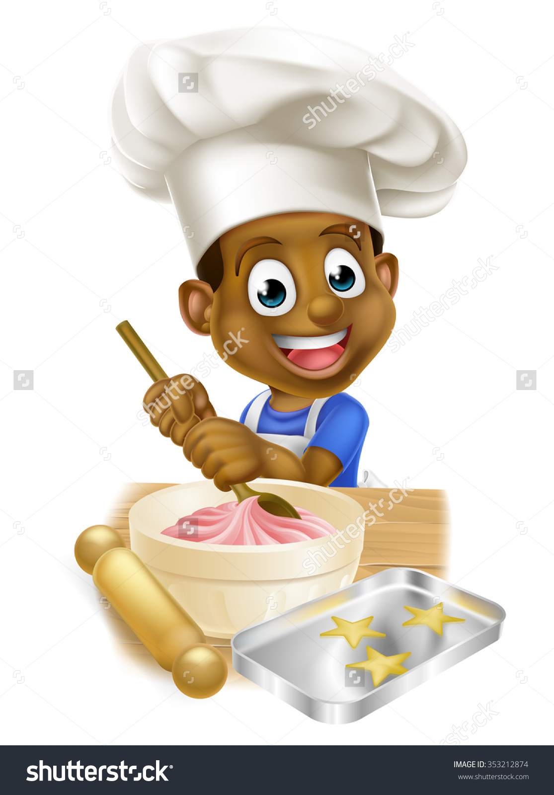 Young Black Boy Kid Apron Chef Stock Vector 353212874.
