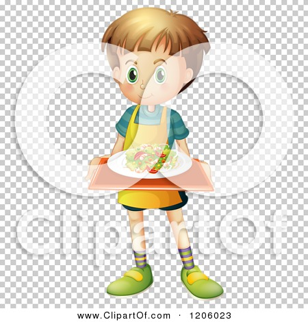Cartoon of a Caucasian Boy Wearing an Apron and Serving a Salad on.