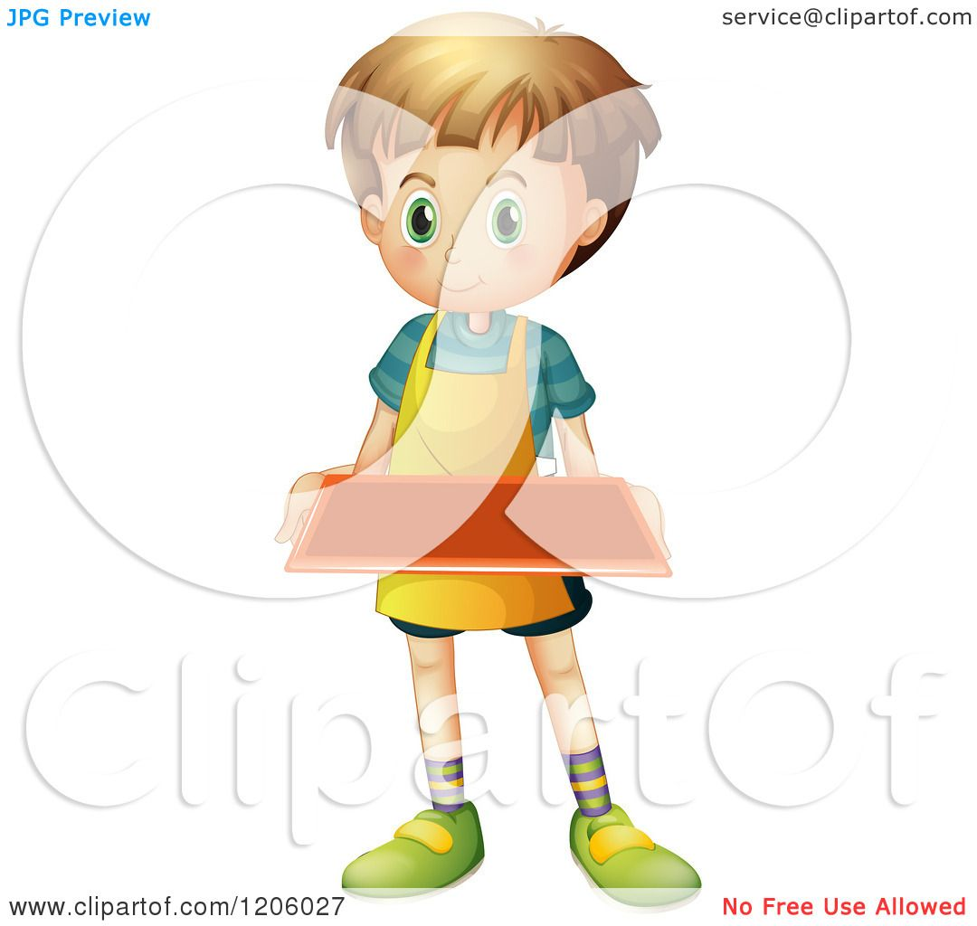 Cartoon of a Caucasian Boy Wearing an Apron and Holding a Tray.