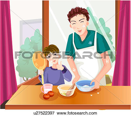 Stock Illustration of father, apron, casual clothing, boy, cooking.