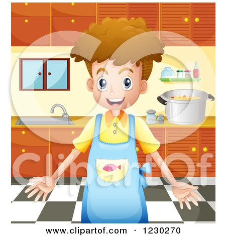 Clipart of a Boy and Girl Talking While Cooking a Meal.
