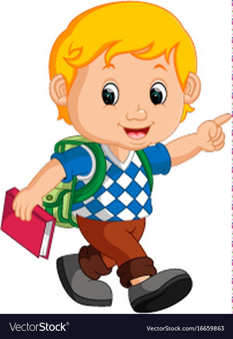 Cute boy with backpack cartoon.