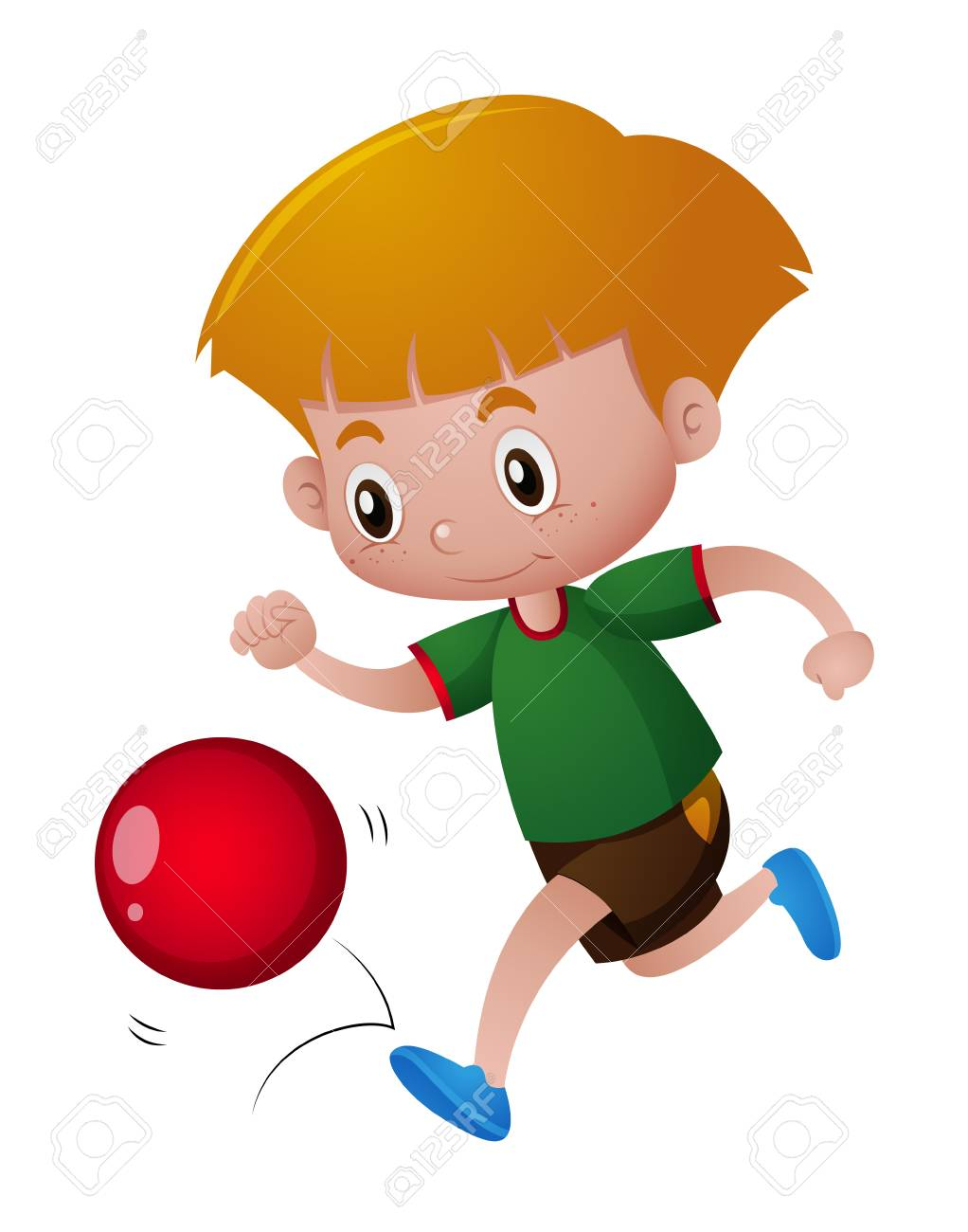 Boy playing with red ball illustration.