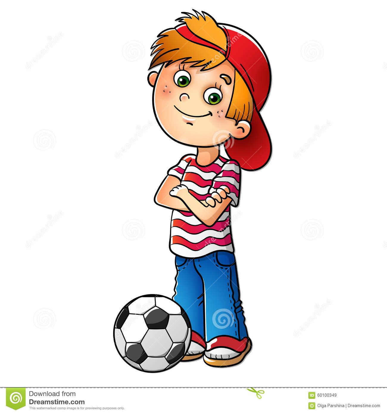 Boy In A Red Cap With A Soccer Ball Stock Vector.
