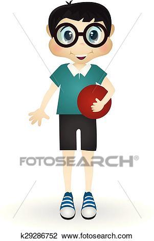 Little boy playing ball Clipart.