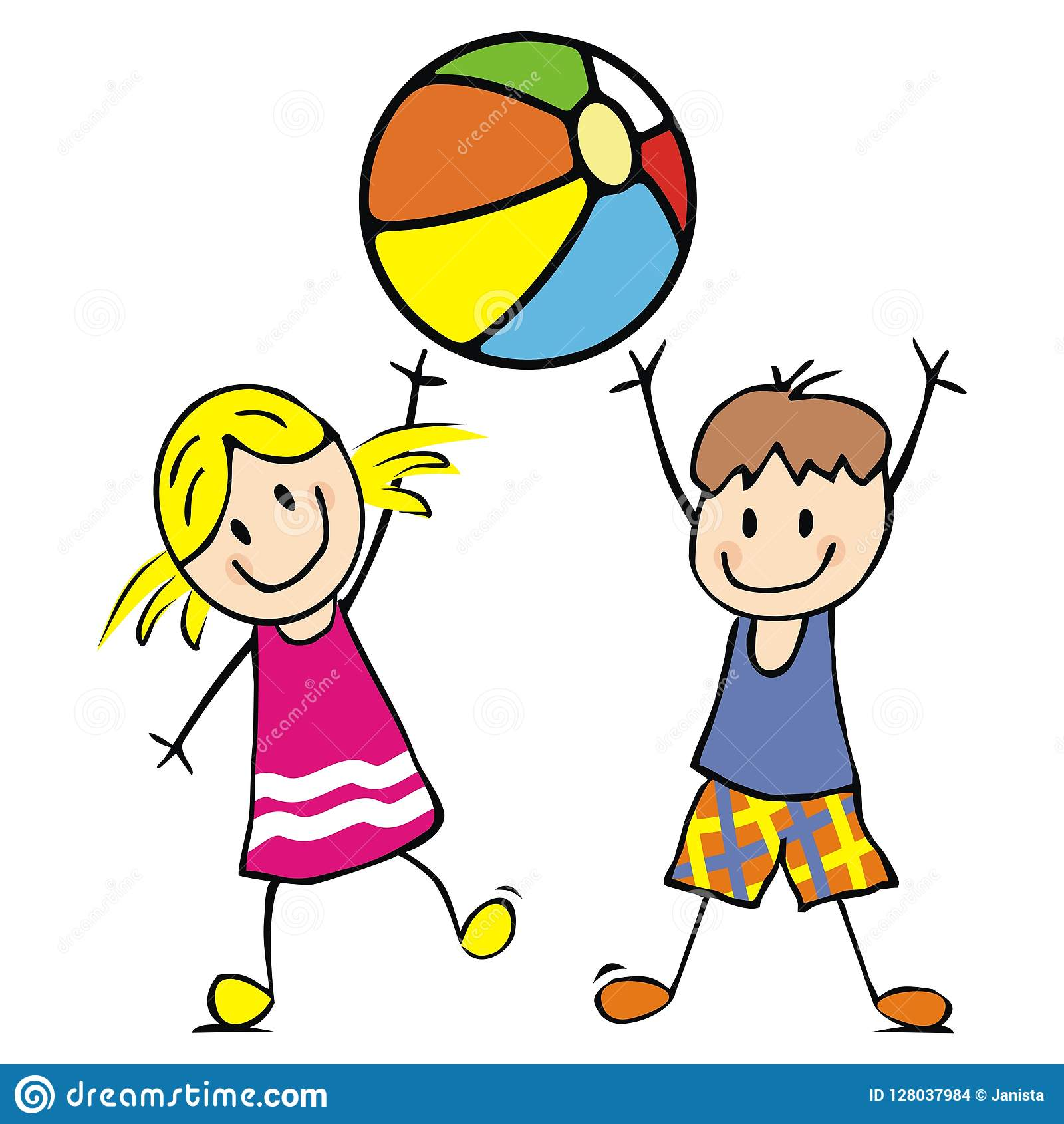 Girl And Boy With Ball. Funny Vector Icon. Stock Vector.