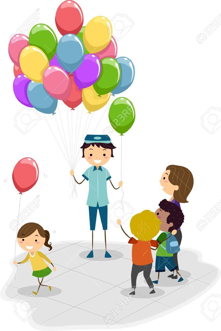 Illustration Of A Vendor Selling Balloons Stock Photo, Picture And.