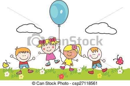 Clip Art Vector of Happy kids playing balloon at park csp27118561.