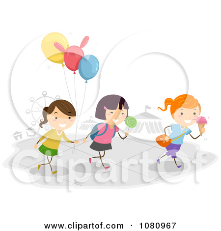 Clipart Stick Kids With Balloons And Sweets At A Theme Park.