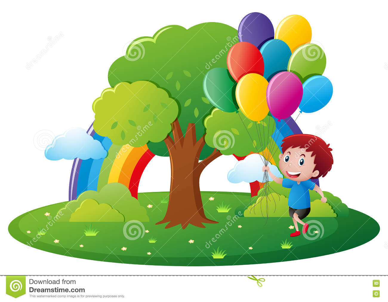 Park Scene With Boy And Balloons Stock Vector.