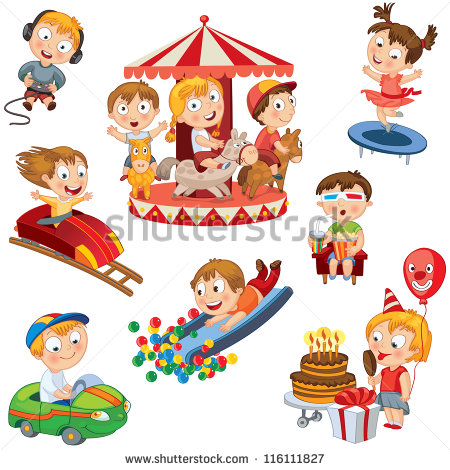 Boy With Balloon In Park Clipart.