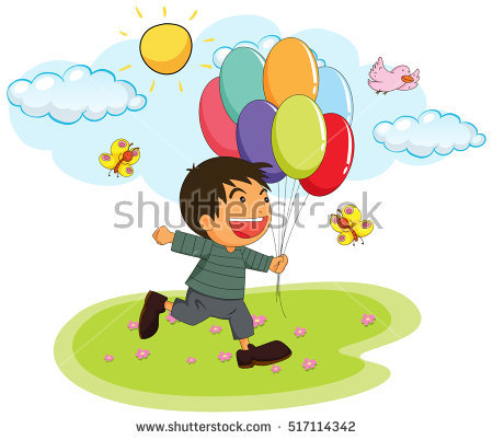 Boy Holding Balloon Stock Images, Royalty.
