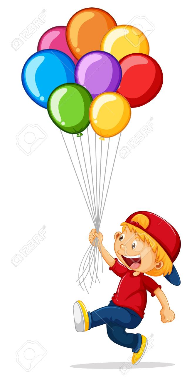 Little boy holding colorful balloons illustration.