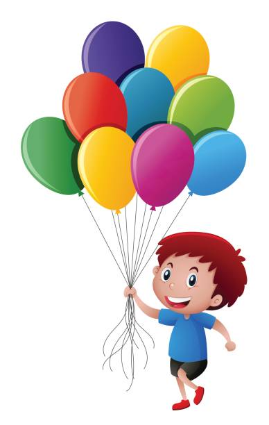 Clipart Boy Holding Balloons & Free Clip Art Images #3583.