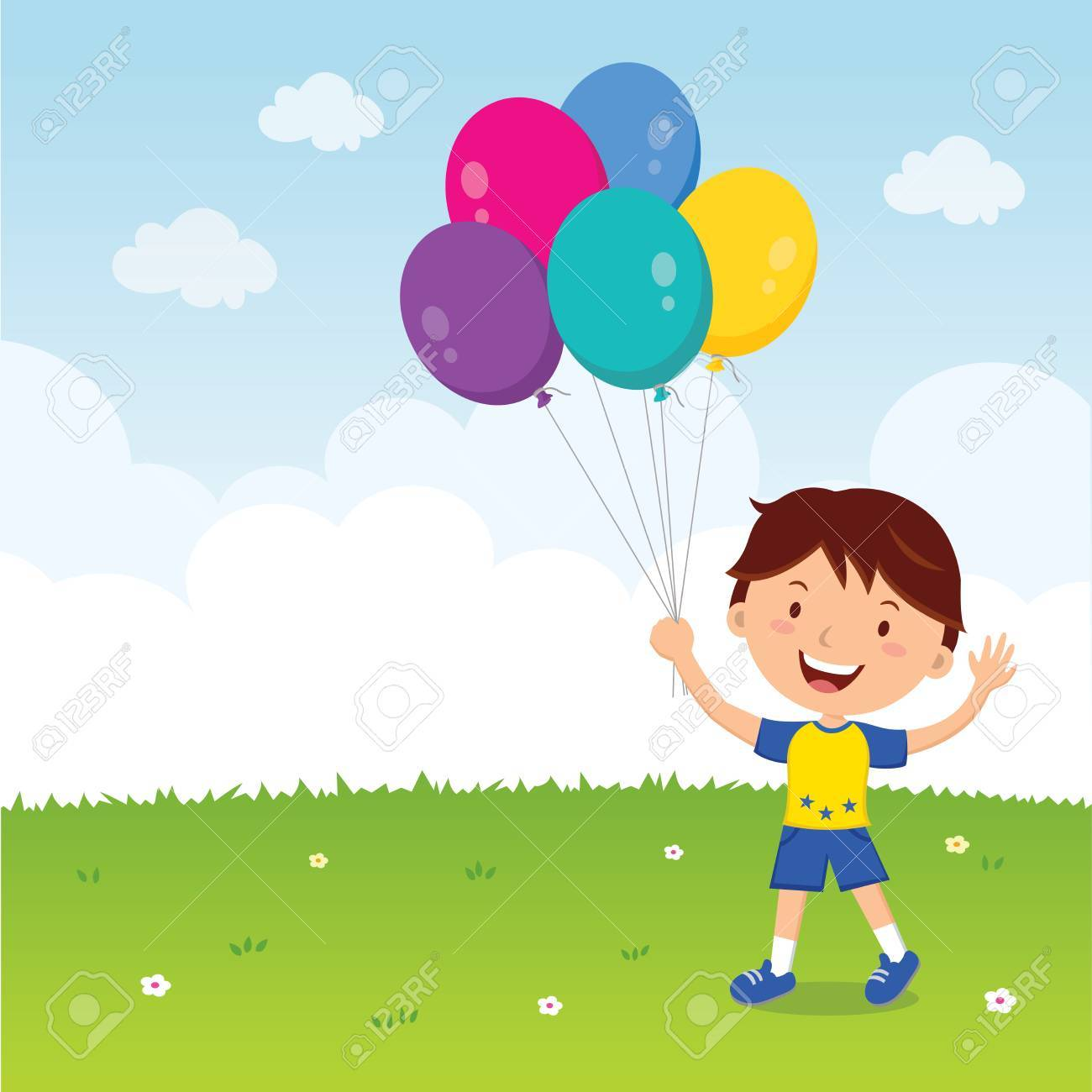 Boy holding balloons. Happy boy gesturing with colorful balloons..