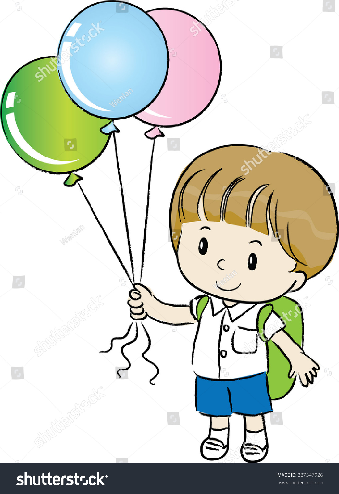 School Boy Holding Balloons Stock Vector (Royalty Free) 287547926.