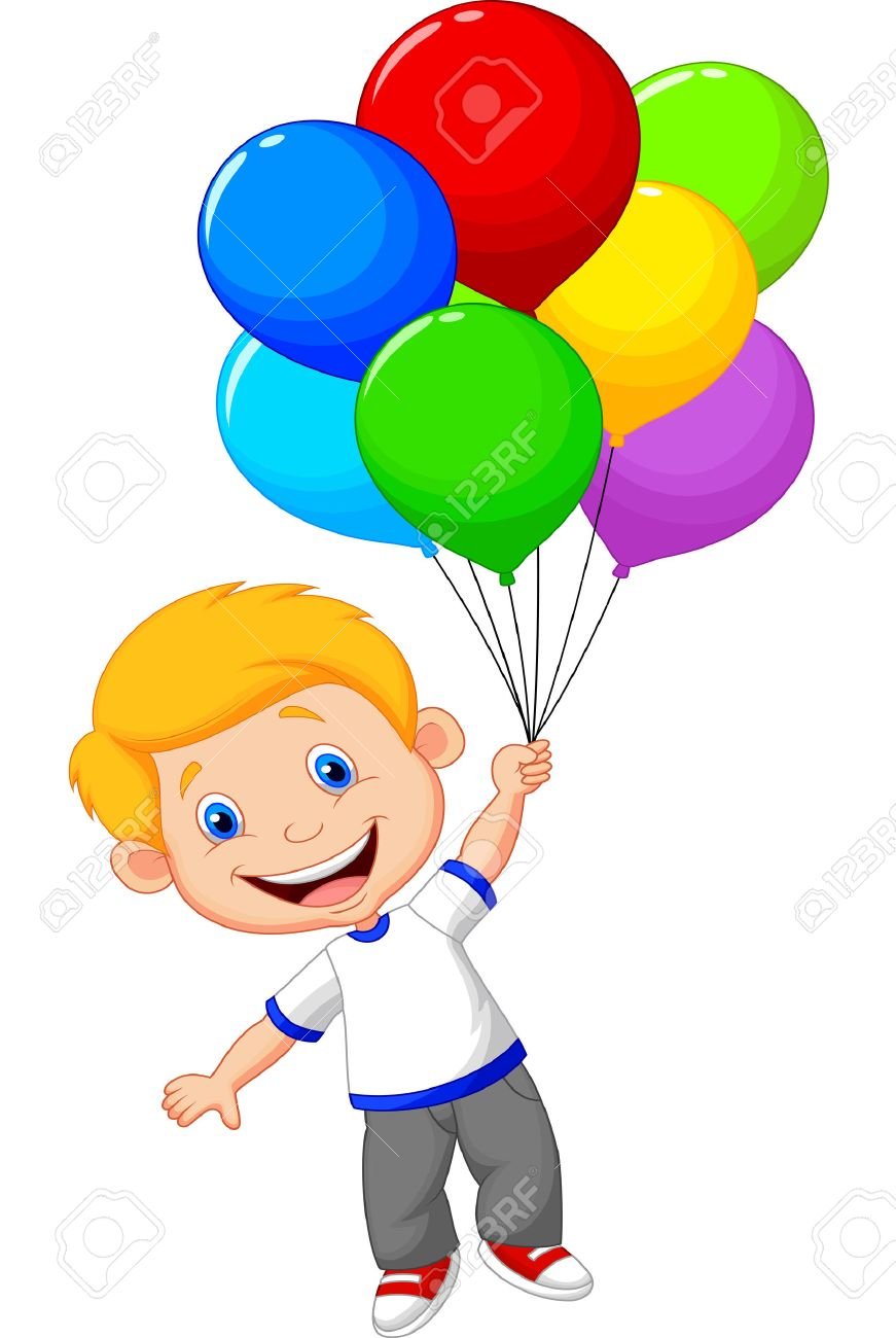 Young boy cartoon flying with balloon.