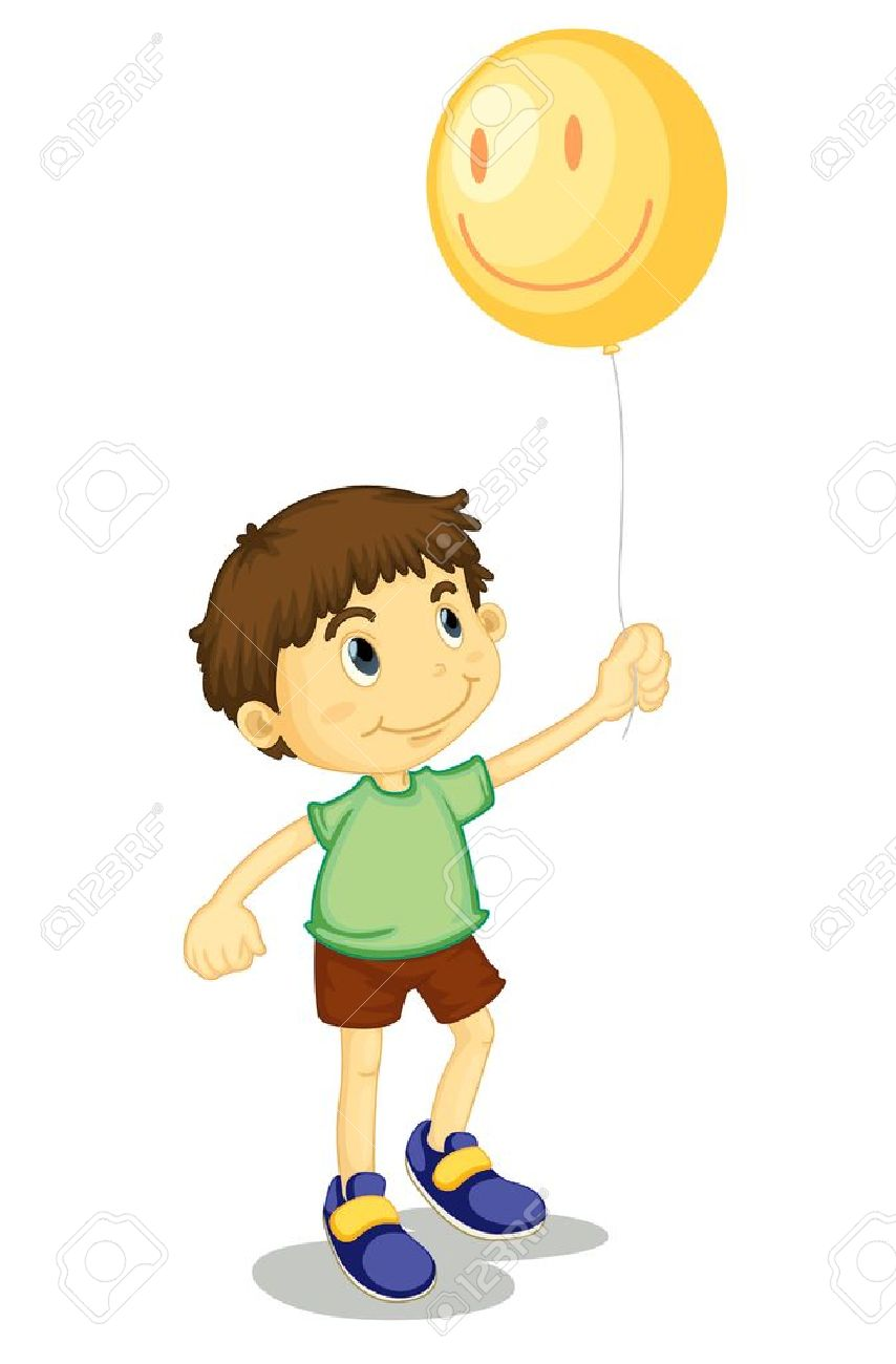 Young boy holding a helium balloon.
