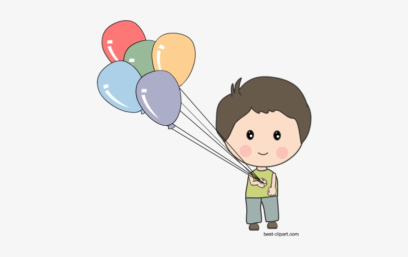 Boy Holding Balloons Free Clip Art.