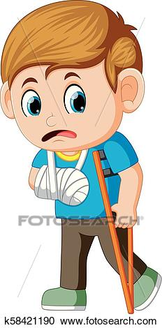 Boy sadness with a broken arm Clipart.