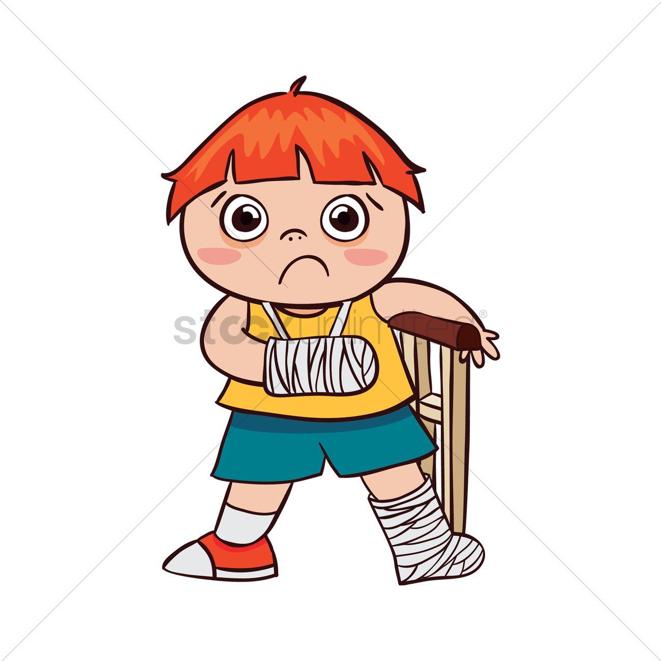 Boy with broken arm and leg Vector Image.