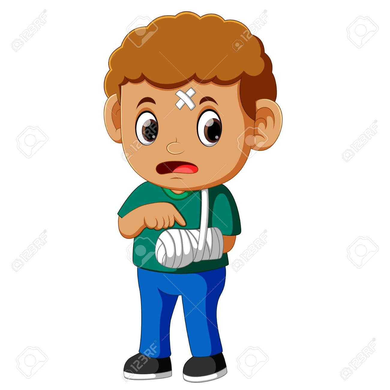 boy showing a broken arm.