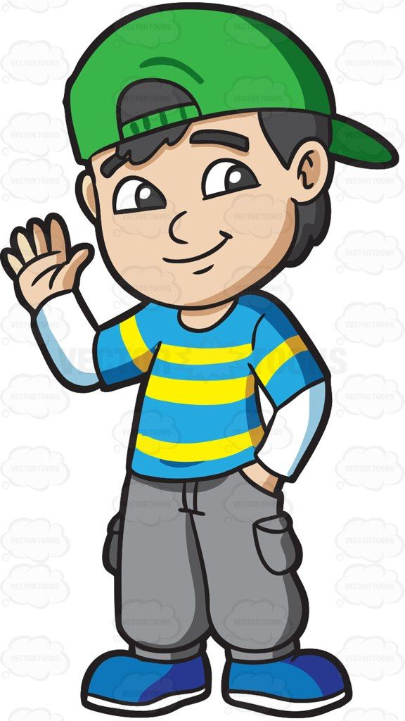A boy greeting his friends #cartoon #clipart #vector.