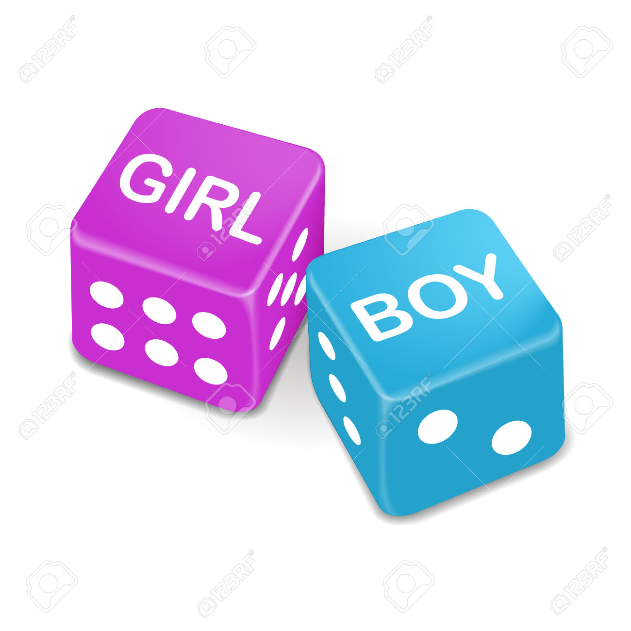 Girl And Boy Words On Two Red Dice Isolated On White Background.