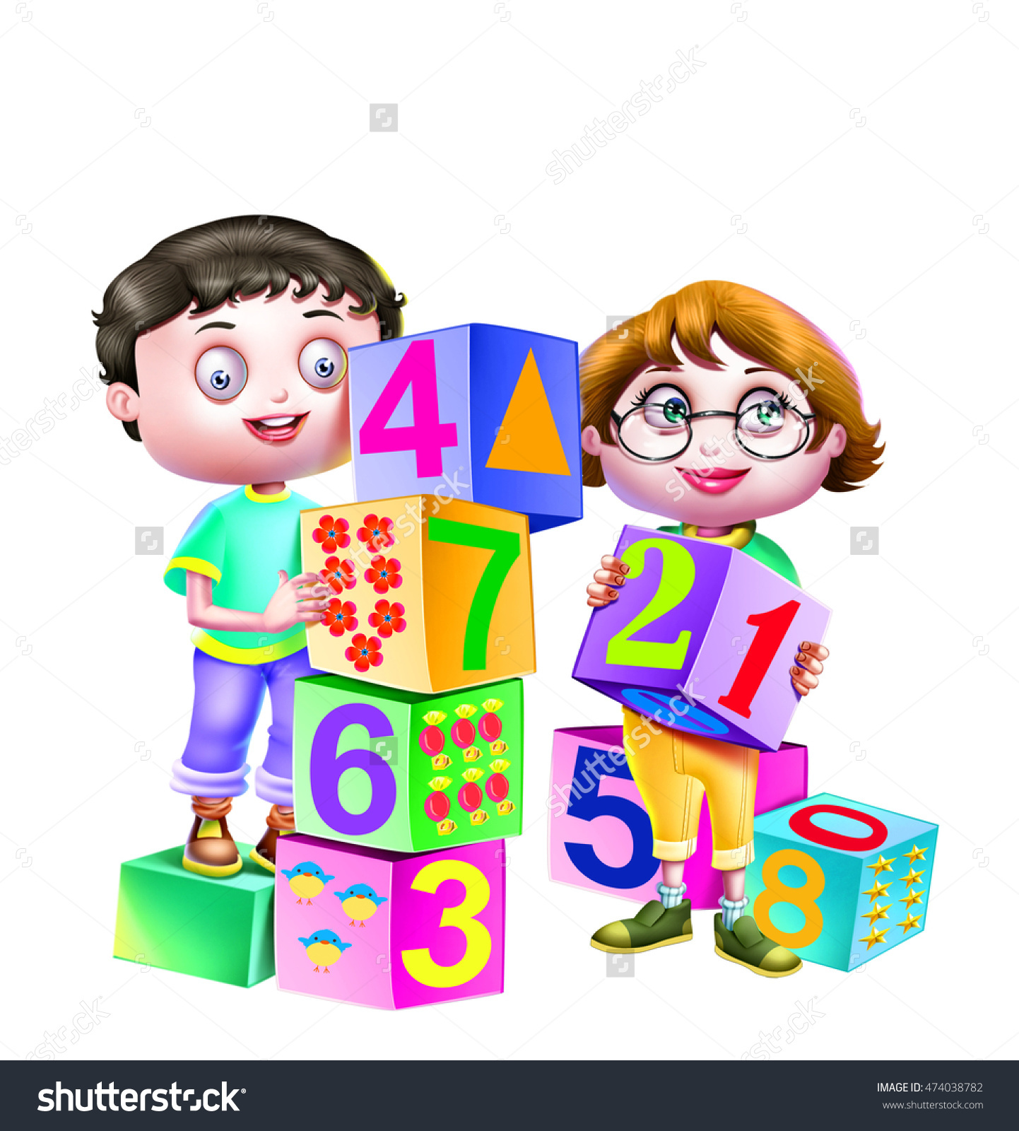 Boy Girl Playing Number Cube Dice Stock Illustration 474038782.