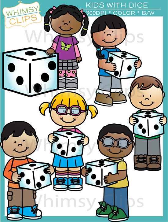 Kids With Dice Clipart.