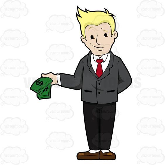 Man With Smirk Holding Money.