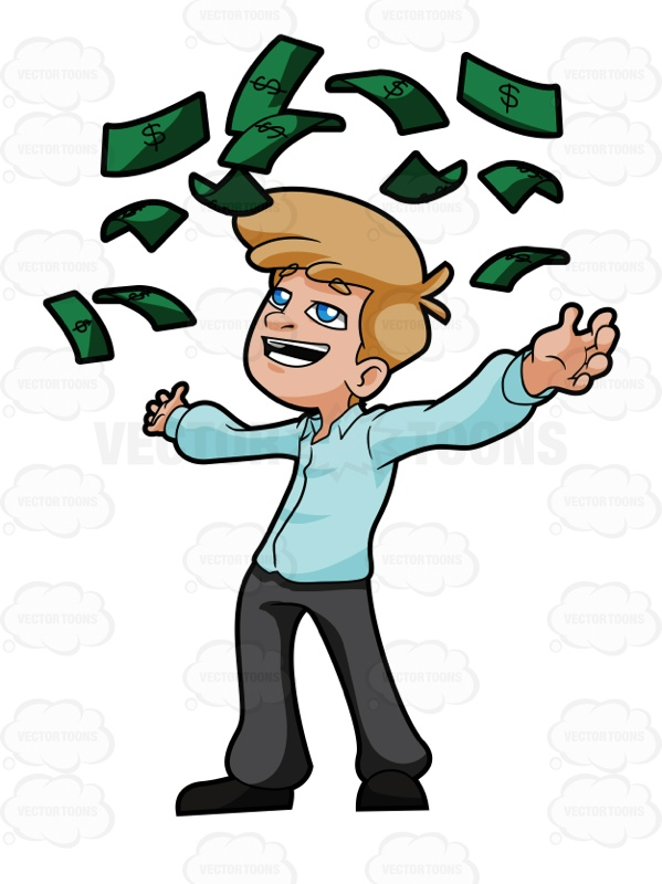 Happy Young Man Throwing Money Into Air.