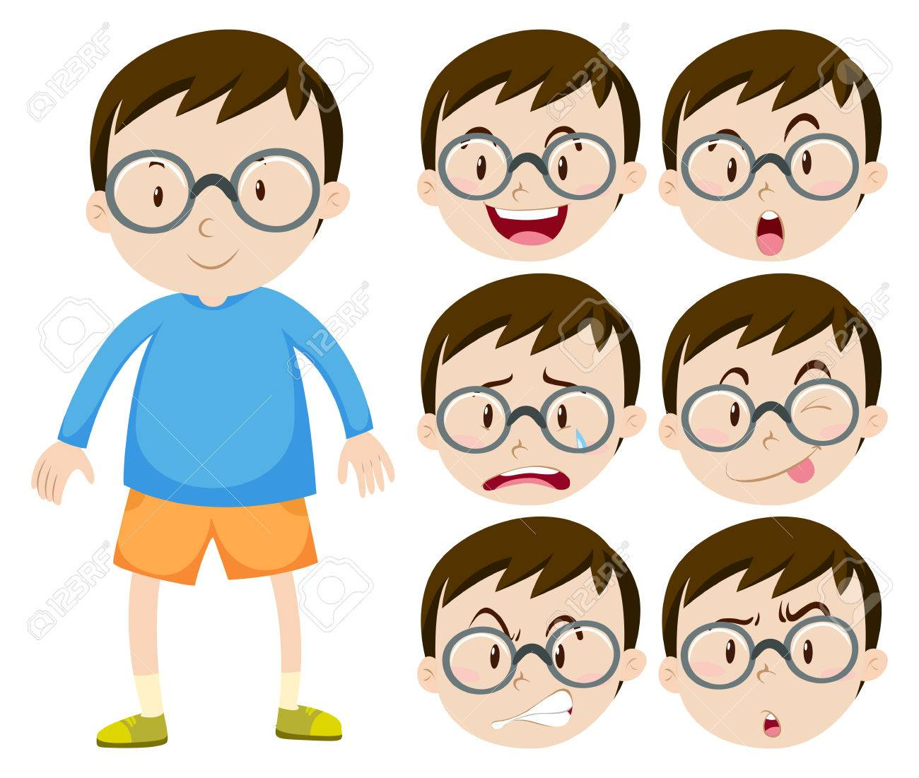 Little boy with glasses and many facial expressions illustration.