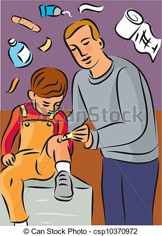 Stock Illustrations of Man putting cream on child's knee injury.