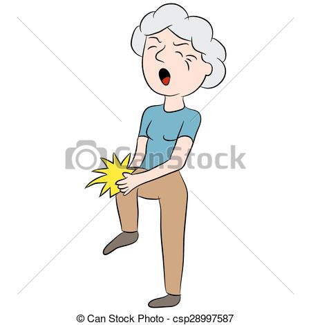 Vector of Female Senior Citizen with Knee Pain.
