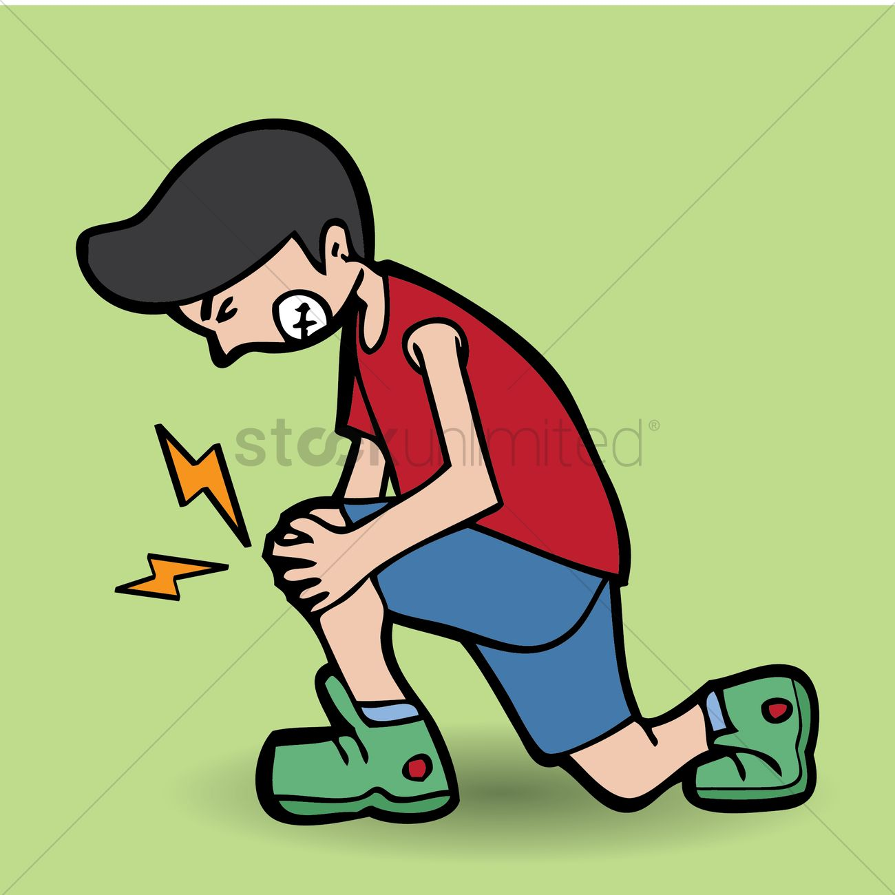Young boy with knee pain Vector Image.