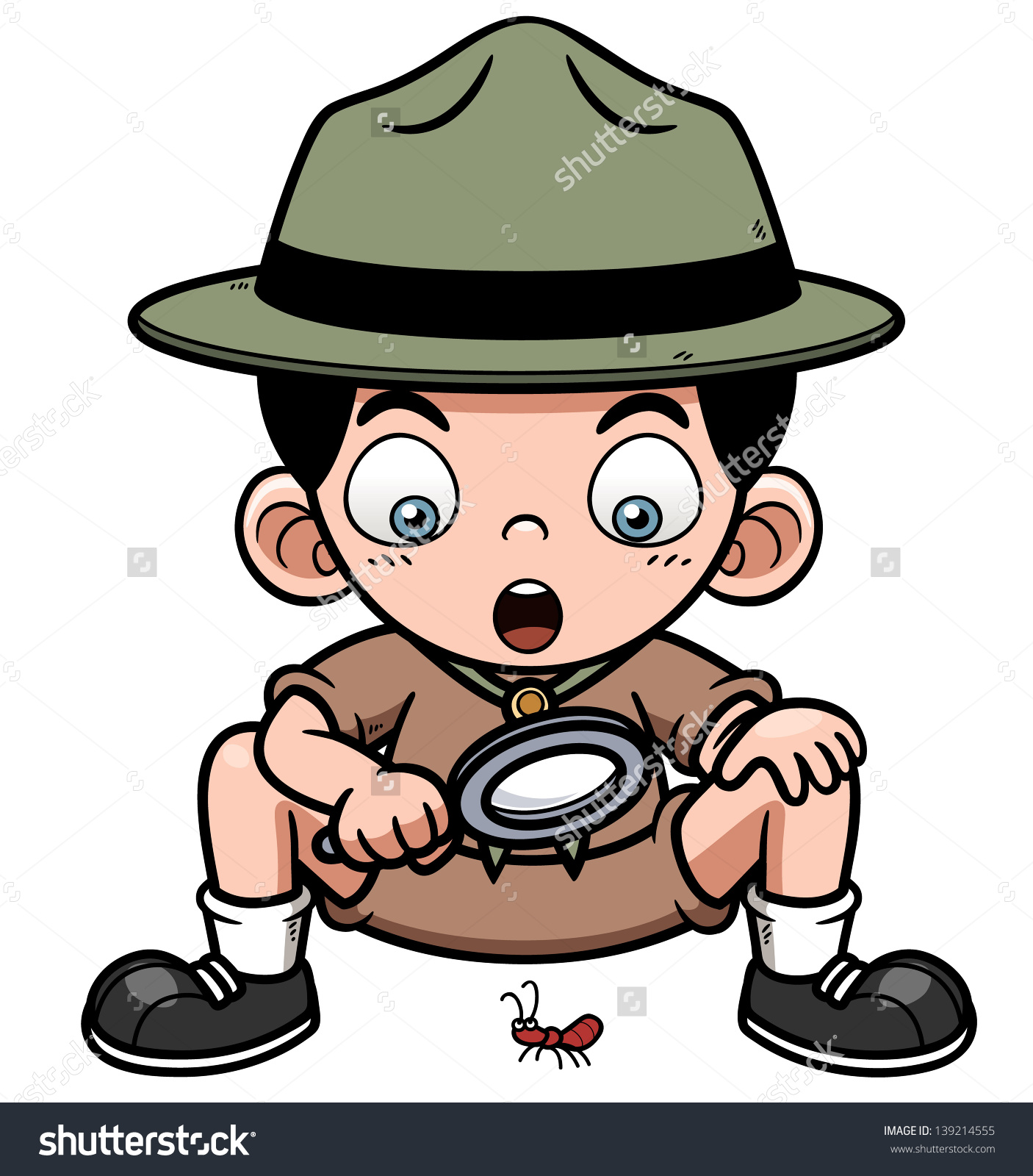 Vector Illustration Boy Magnifying Glass Stock Vector 139214555.