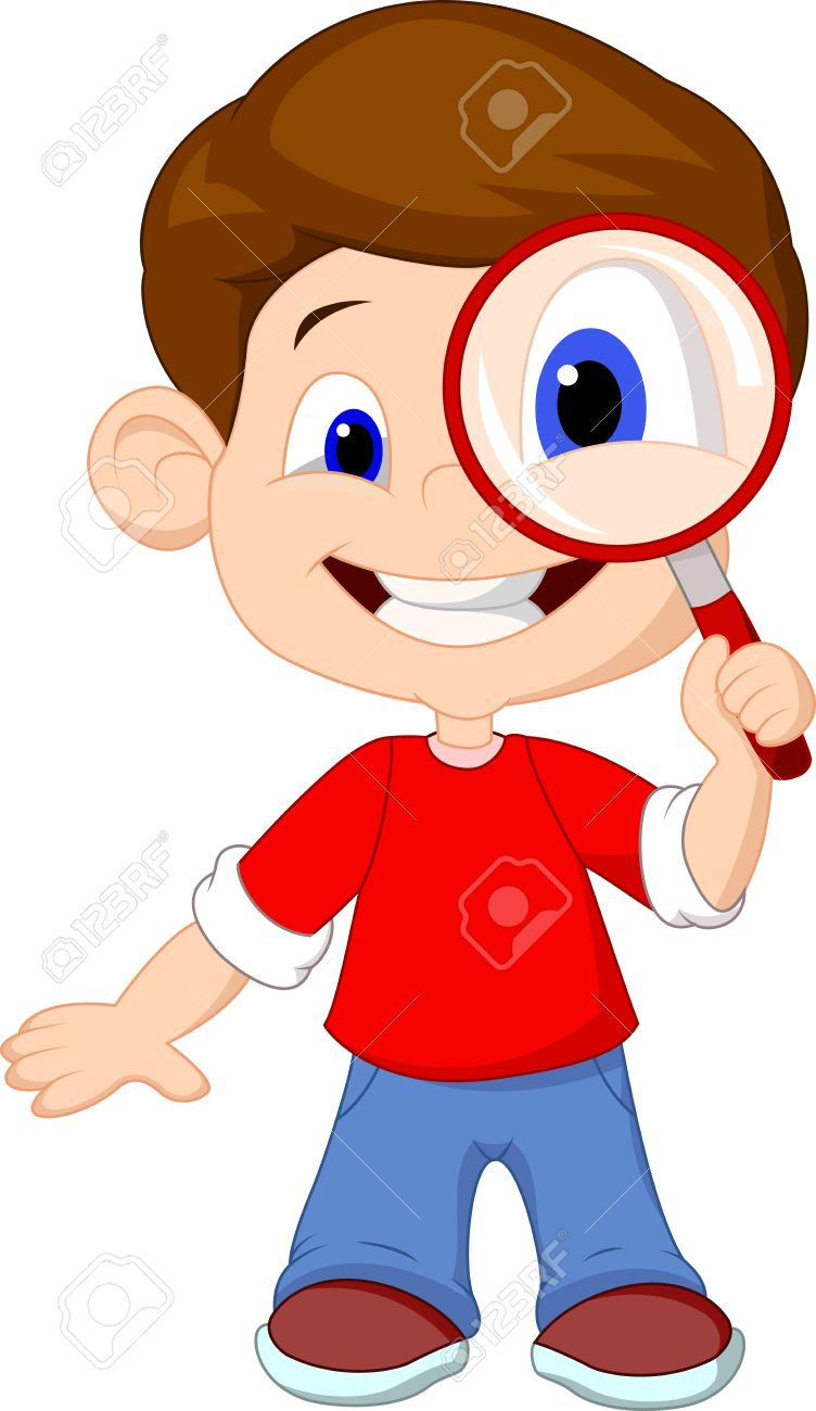 Cartoon A Boy And A Magnifier Royalty Free Cliparts, Vectors, And.
