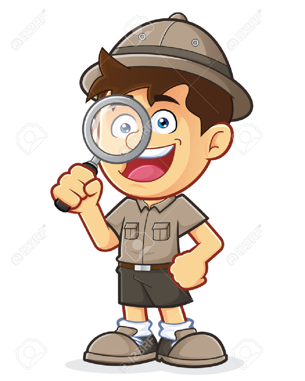 Boy Scout Or Explorer Boy With Magnifying Glass Royalty Free.