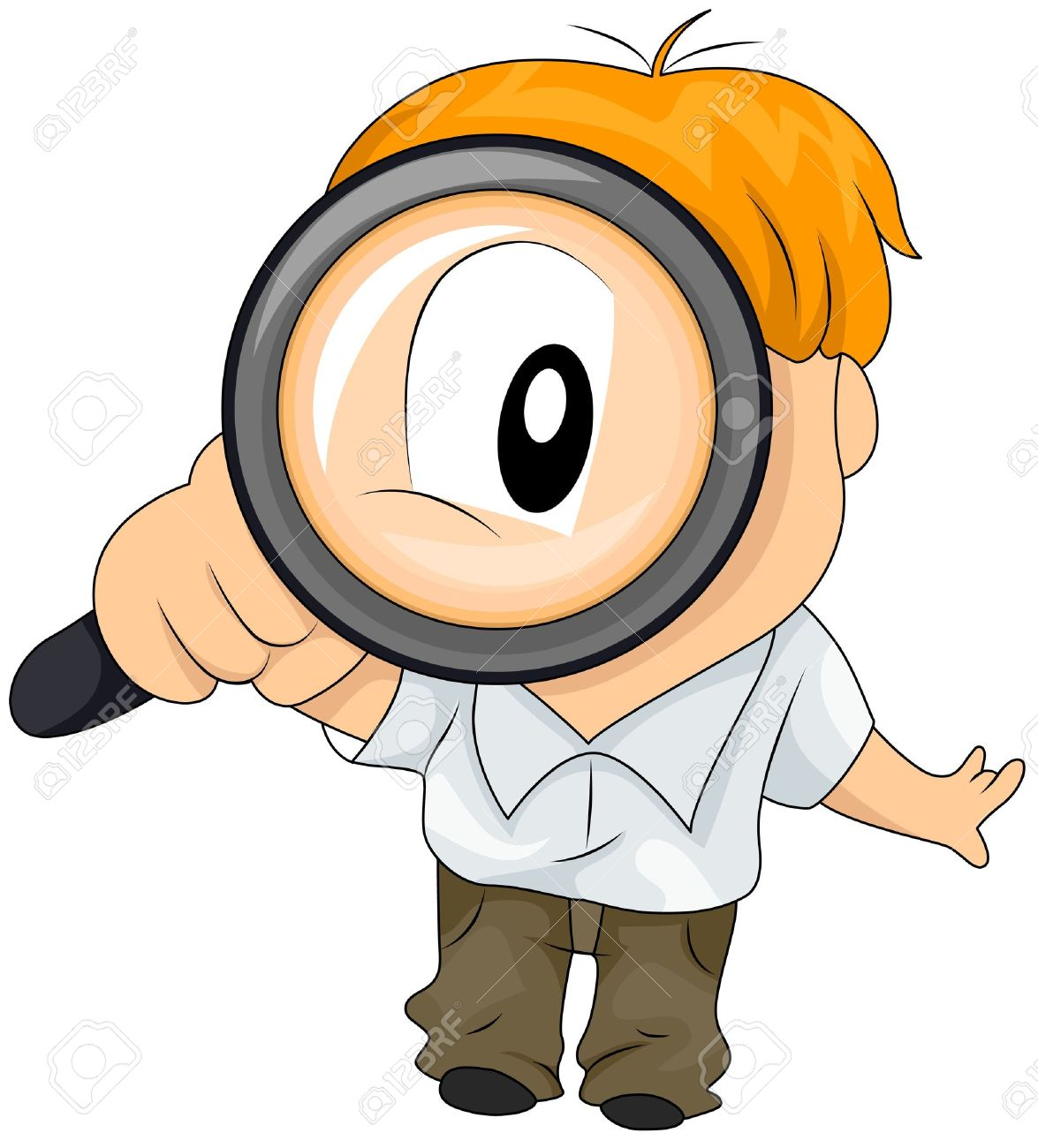 Boy Using Magnifying Glass Stock Photo, Picture And Royalty Free.