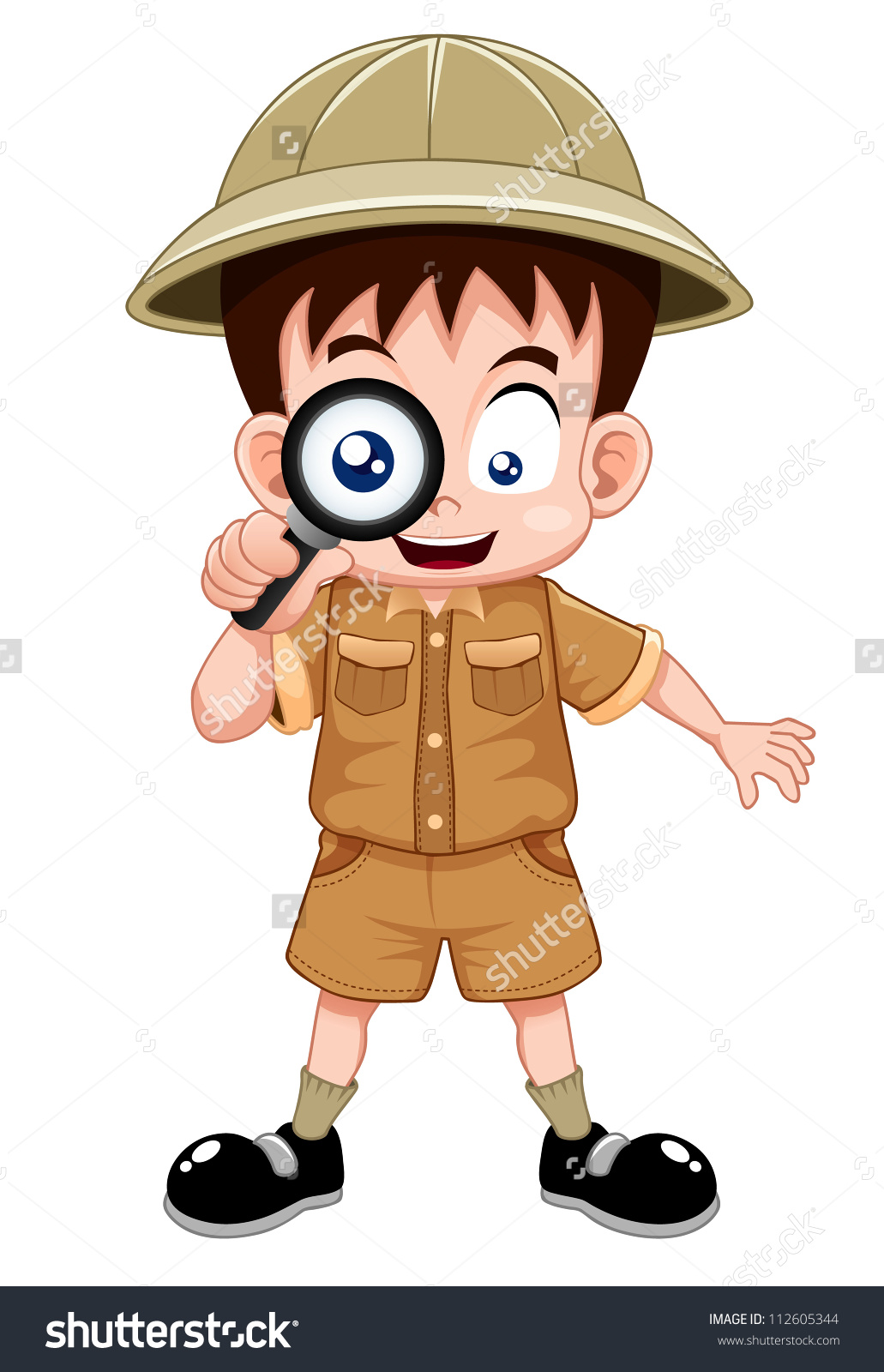 Boy Scout Magnifying Glass Stock Vector 112605344.