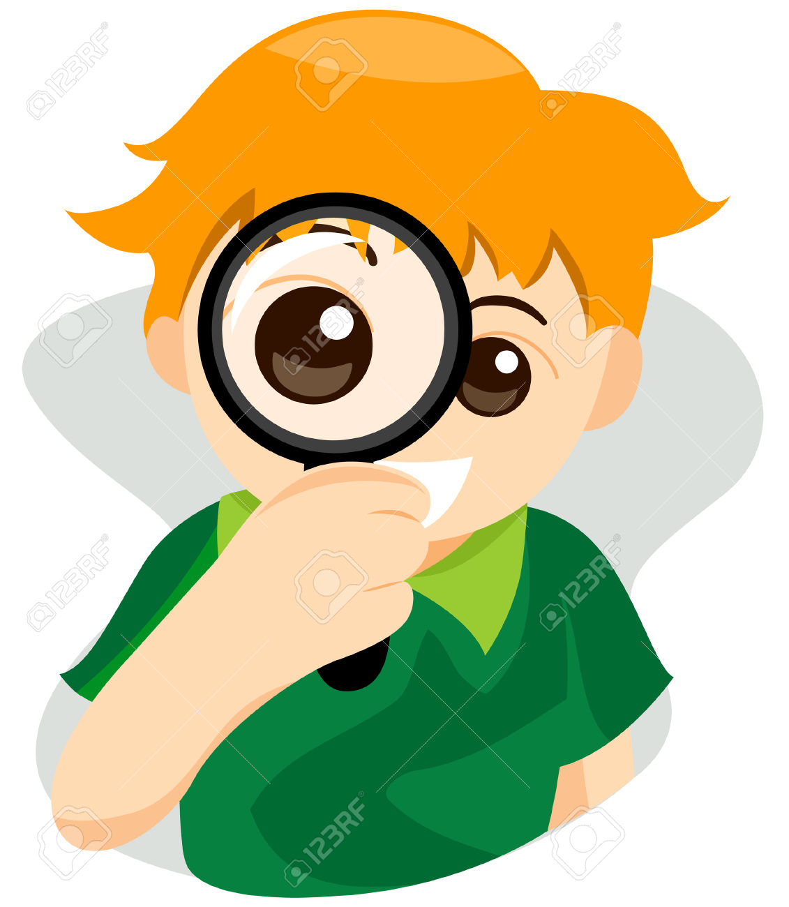 Magnifying Glass Kid With Clipping Path Royalty Free Cliparts.