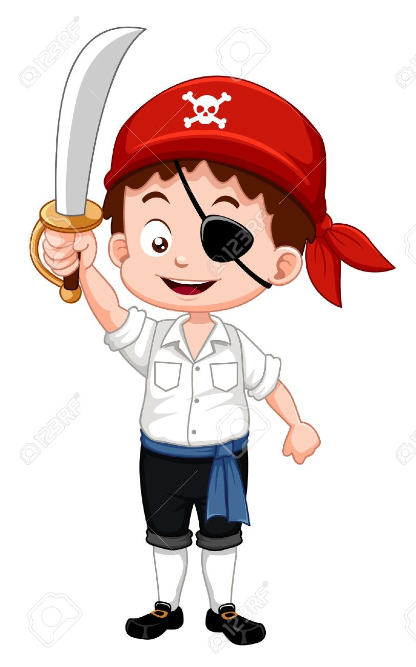 Illustration Of Pirate Boy Holding Sword Royalty Free Cliparts.