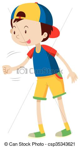 Vector Illustration of Boy playing scissors paper rock.