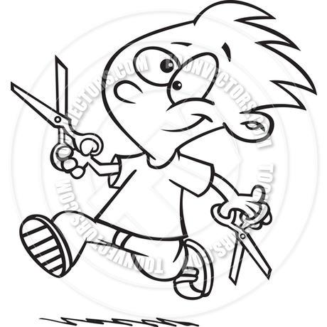 Cartoon Boy Running with Scissors (Black and White Line Art) by.