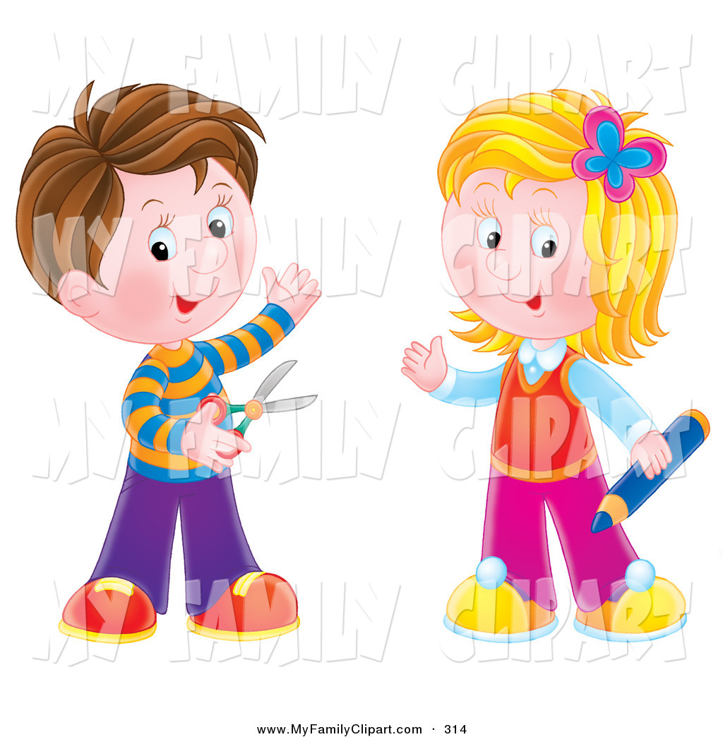 Clip Art of a Happy Brunette Boy Holding Scissors, Standing with a.