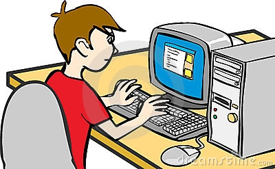 Boy Working On Computer Clipart.