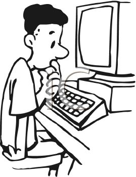 Royalty Free Clip Art Image: Boy Confused While Working on Computer.